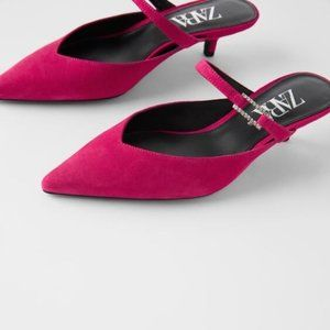 Zara Fuchsia Leather Mules